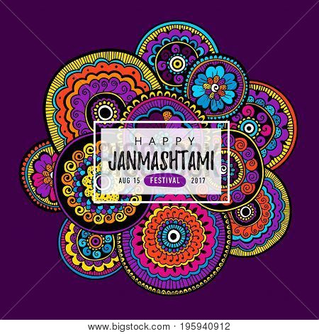 Vector banner, poster or greeting card for indian festival of Happy Krishna Janmashtami with hand drawn lettering. Vector Illustration with indian pattern.
