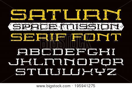Square serif font in computer style. Letters with shabby texture. Print on black background