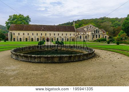 MONTBARD FRANCE - OCTOBER 13 2016: The Abbey of Fontenay yard in Burgundy France
