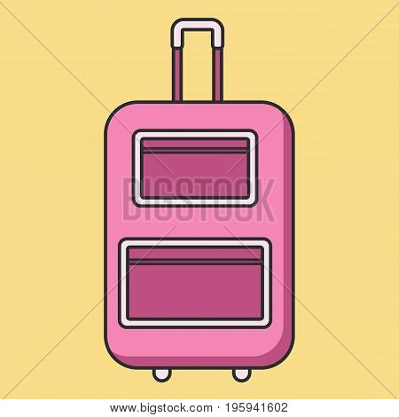 Rolling pink suitcase in flat linear style with shadow. vector illustration isolated on the background. Could be used for icon and infographic. Easy to recolor and scale Eps10