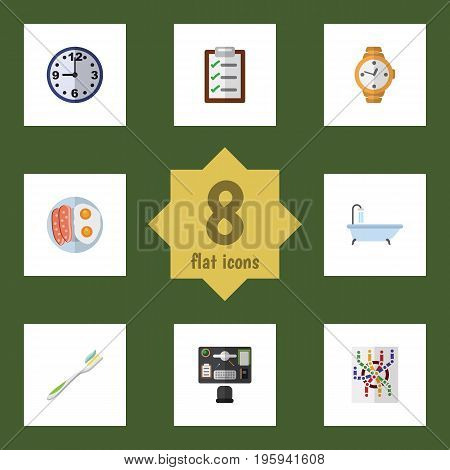 Flat Icon Oneday Set Of Questionnaire, Timer, Router And Other Vector Objects