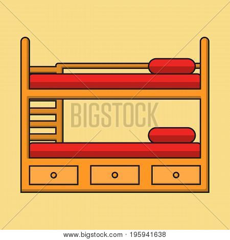 Bunk bed with stairs, wooden bunk decker bed, bed for children in flat linear style with shadow, vector illustration isolated on the background. Could be used for icon and infographic Eps10