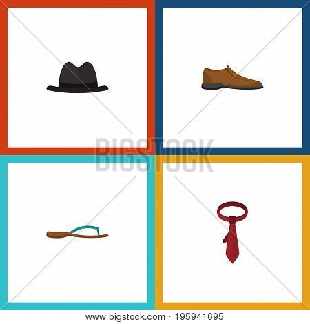 Flat Icon Clothes Set Of Male Footware, Cravat, Panama And Other Vector Objects