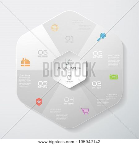 Vector infographic of gradient gray hexagonal forms cut from paper with shadows text and color icons on the gradient gray background. Can be used for business presentation process.