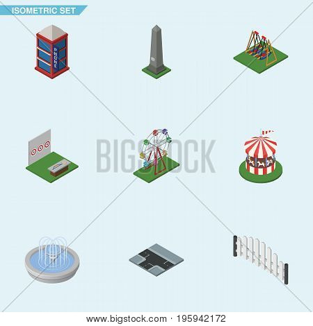 Isometric City Set Of Crossroad, Recreation, Seesaw And Other Vector Objects