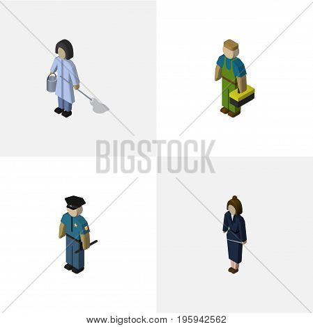 Isometric People Set Of Housemaid, Plumber, Officer And Other Vector Objects