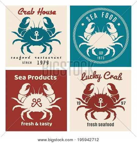 Set of retro seafood labels and signs. Vector illustration