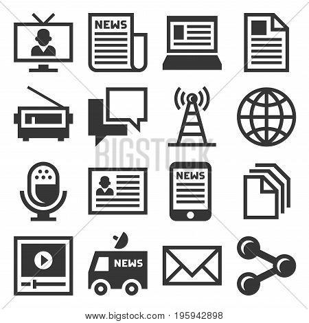 Media News Icon Set on White Background. Vector illustration