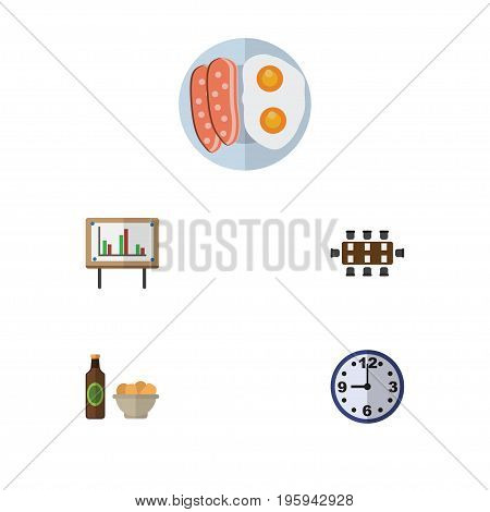 Flat Icon Life Set Of Boardroom, Fried Egg, Watch And Other Vector Objects