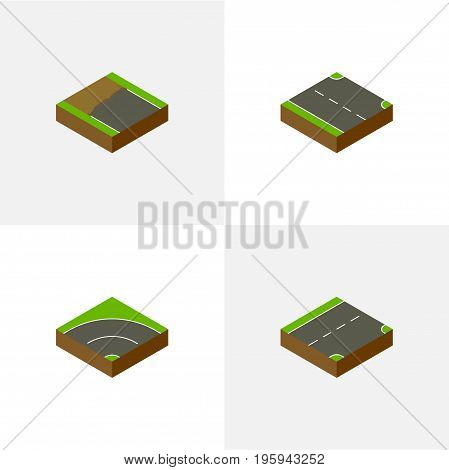 Isometric Way Set Of Rightward, Down, Bitumen And Other Vector Objects