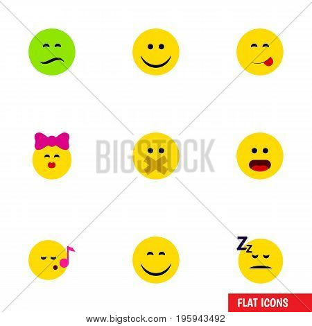 Flat Icon Gesture Set Of Wonder, Asleep, Hush And Other Vector Objects