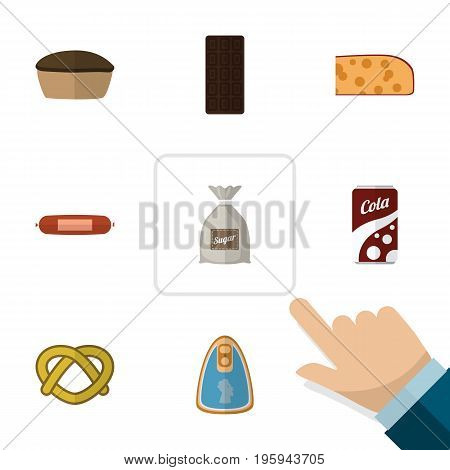 Flat Icon Food Set Of Fizzy Drink, Confection, Tart And Other Vector Objects