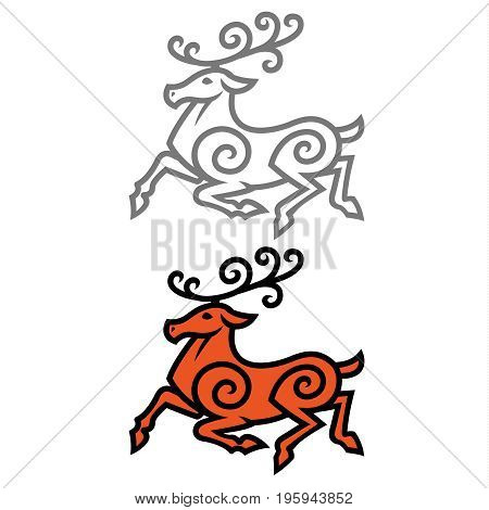 Running deer - icon or logo template vector