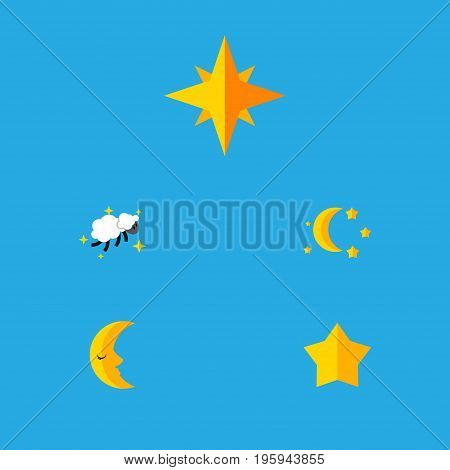 Flat Icon Bedtime Set Of Moon, Bedtime, Asterisk And Other Vector Objects