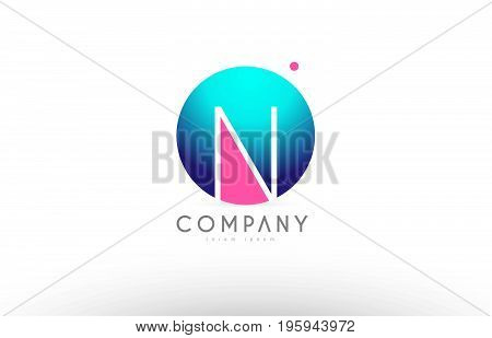 N Alphabet 3D Sphere Letter Blue Pink Logo Icon Design