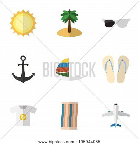 Flat Icon Summer Set Of Wiper, Spectacles, Beach Sandals Vector Objects