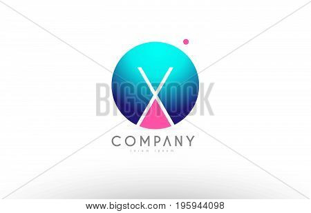 X Alphabet 3D Sphere Letter Blue Pink Logo Icon Design