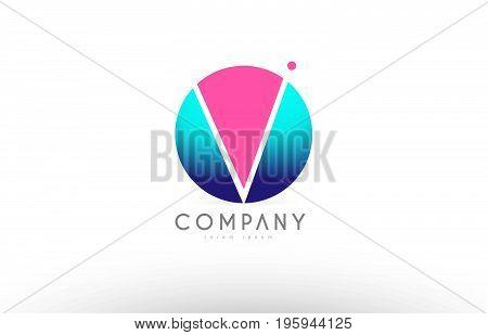 V Alphabet 3D Sphere Letter Blue Pink Logo Icon Design