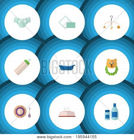 Flat Icon Child Set Of Baby Plate, Bathtub, Cream With Lotion And Other Vector Objects