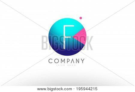 F Alphabet 3D Sphere Letter Blue Pink Logo Icon Design