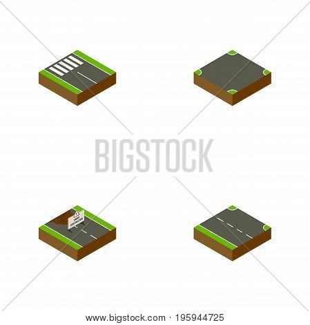 Isometric Way Set Of Crossroad, Rightward, Strip And Other Vector Objects