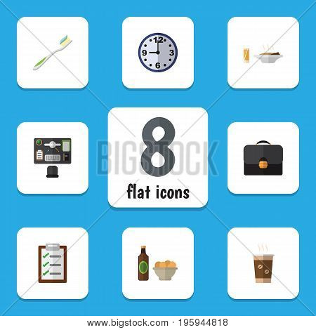 Flat Icon Oneday Set Of Beer With Chips, Watch, Lunch And Other Vector Objects
