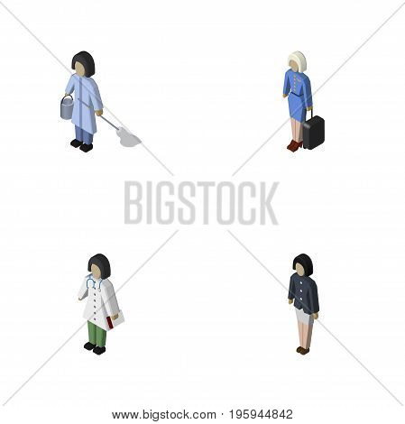 Isometric Person Set Of Doctor, Housemaid, Hostess And Other Vector Objects