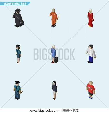 Isometric Person Set Of Detective, Male, Officer And Other Vector Objects