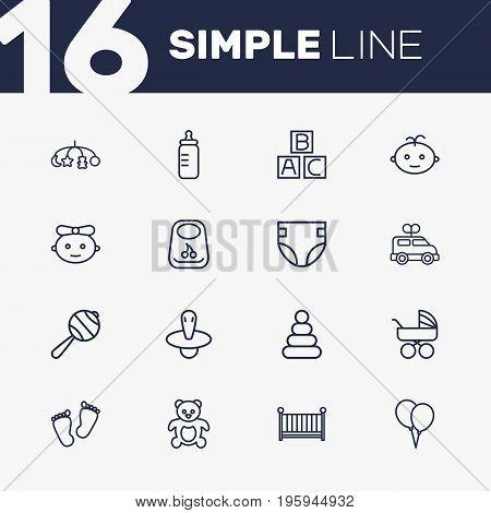 Set Of 16 Kid Outline Icons Set