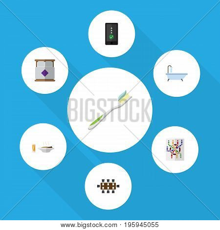 Flat Icon Lifestyle Set Of Boardroom, Router, Tub And Other Vector Objects