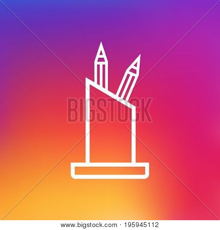 Isolated Pencil Stand Outline Symbol On Clean Background