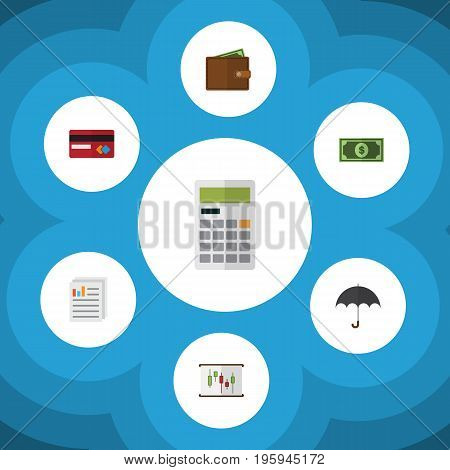 Flat Icon Gain Set Of Calculate, Greenback, Parasol And Other Vector Objects