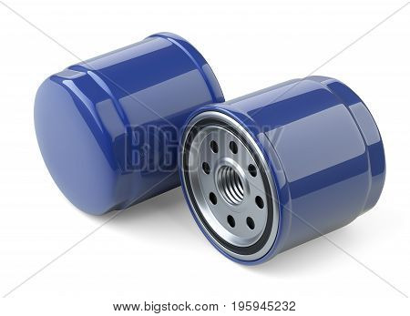 A set of new oil filters. Automobile spare part. 3d illustration isolate on white background.