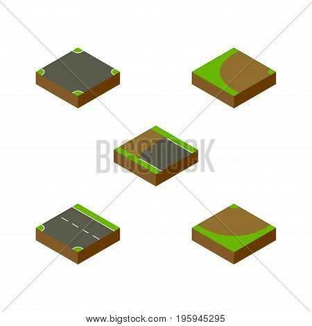 Isometric Road Set Of Downward, Crossroad, Incomplete And Other Vector Objects