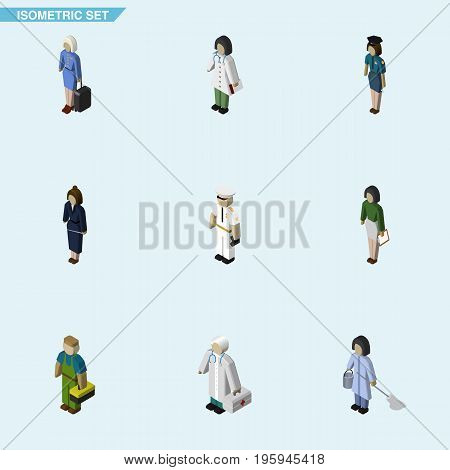 Isometric Person Set Of Housemaid, Hostess, Pedagogue And Other Vector Objects