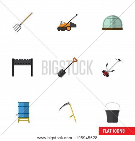 Flat Icon Farm Set Of Grass-Cutter, Hothouse, Lawn Mower And Other Vector Objects