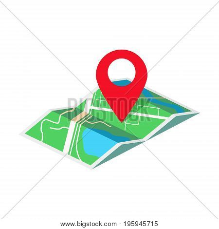 Map with geo tag isometric style colorful vector illustration