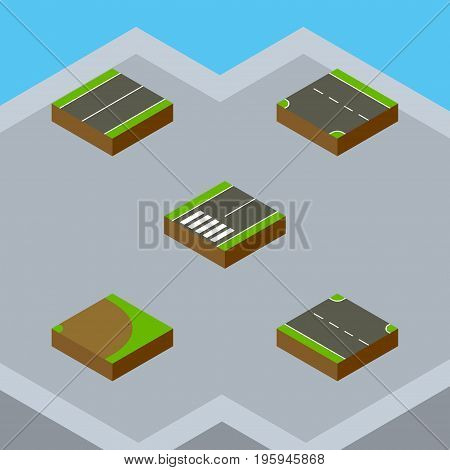 Isometric Way Set Of Footpassenger, Rotation, Plane And Other Vector Objects