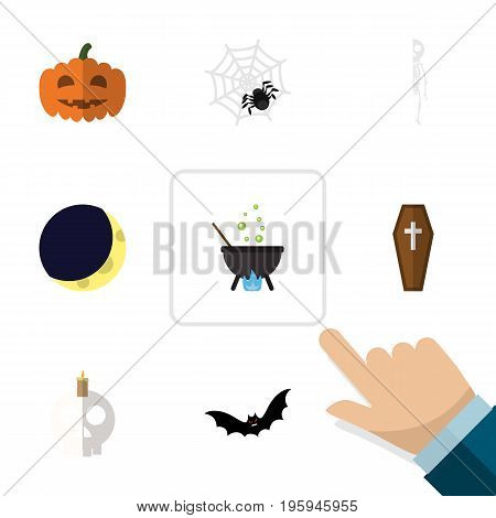 Flat Icon Halloween Set Of Casket, Crescent, Magic And Other Vector Objects