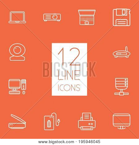 Set Of 12 Laptop Outline Icons Set