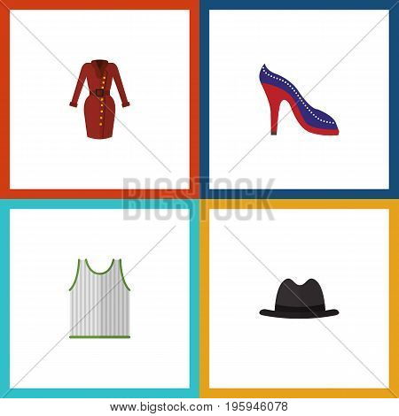 Flat Icon Dress Set Of Clothes, Panama, Heeled Shoe And Other Vector Objects