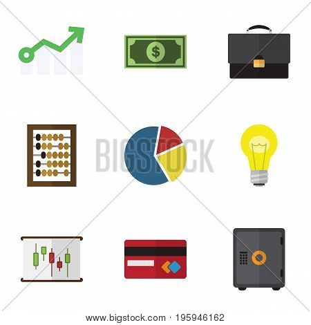 Flat Icon Incoming Set Of Portfolio, Payment, Diagram And Other Vector Objects