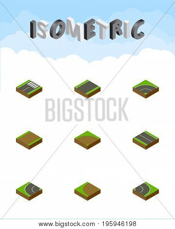 Isometric Way Set Of Sand, Unilateral, Bitumen Vector Objects