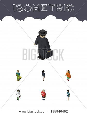 Isometric Human Set Of Policewoman, Guy, Girl And Other Vector Objects