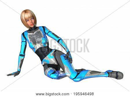 3D Rendering Female Cyborg On White