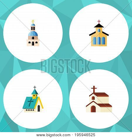 Flat Icon Building Set Of Church, Architecture, Catholic And Other Vector Objects