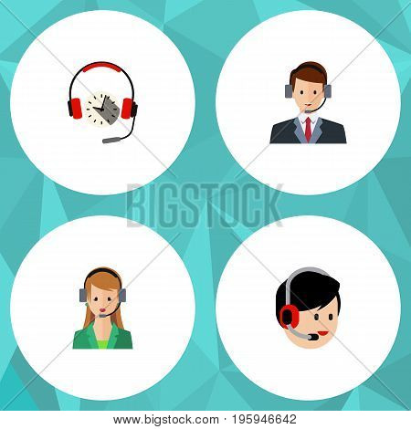 Flat Icon Call Set Of Headphone, Operator, Hotline And Other Vector Objects