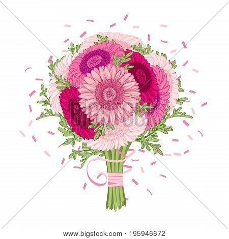 Flowers bouquet - Summer background with Gerbera wormwood. Hand drawn vector illustration.