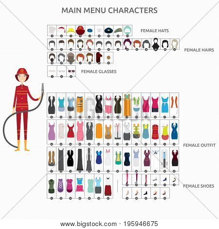 Character Creation Firefighter   set of vector character illustration use for human, profession, business, marketing and much more.The set can be used for several purposes like: websites, print templates, presentation templates, and promotional materials.
