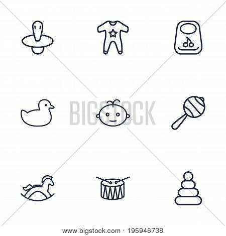 Set Of 9 Kid Outline Icons Set